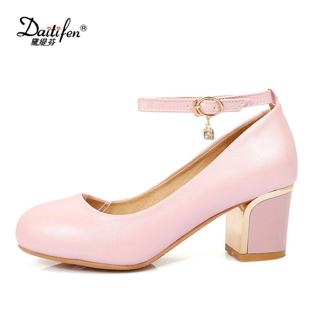 75961c6786d Daitifen Ankle Strap Shoes Woman High Heels Vintage Candy Round Toe Women  Chunky Pumps Sweet Pink Heels Girls Prom Wedding Shoes