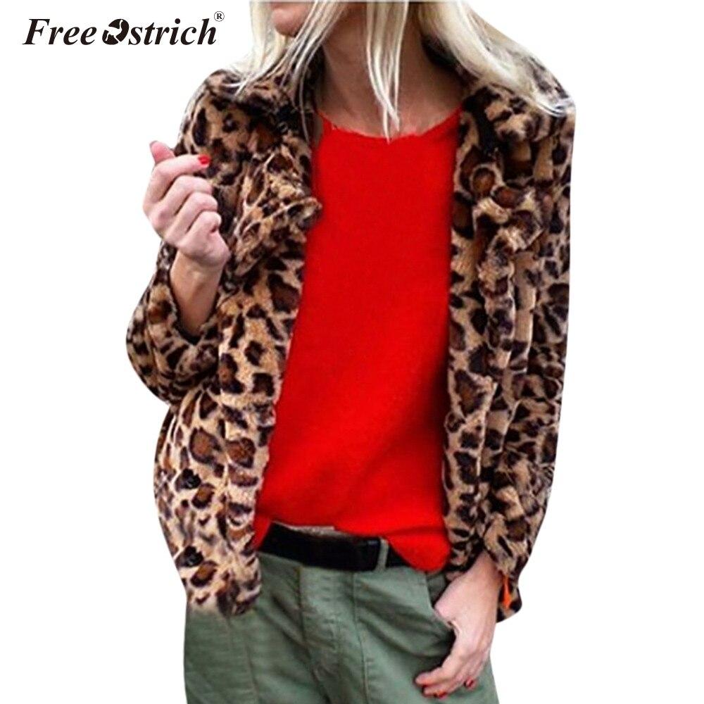 Abrigo Ropa Invierno Impresión Faux De Leopardo Collar Casaco Abajo  Chaqueta Mujer A Envío Feminino Slim Piel Avestruz ... 4d9c074373c0