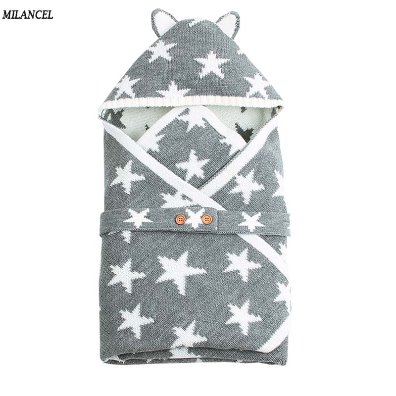 MILANCEL 2018 Baby Accessories Baby Stuff for Newborn Baby Knit Wraps Hooded Blanket Wraps Newborn Photography Baby Swaddle color block knit dolphin shape blanket throw for baby