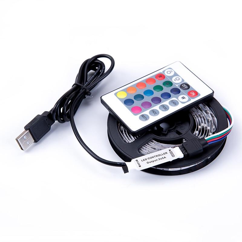 DC 5V USB RGB LED лента SMD 3528 Гъвкави светлинни лампи LED светлина Телевизия фонова светлина лепило лента 50 СМ 1M 2M 3M 4M 5M