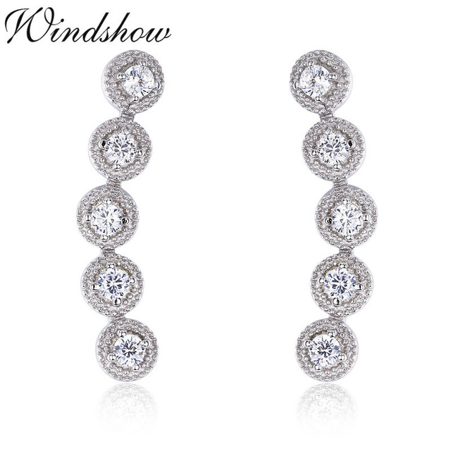 3ad4f39d8 925 Sterling Silver Five Round CZ Ear Climber Stud Earrings For Women Girls  Jewelry Orecchini Aros Aretes Ear Jacket oorbellen