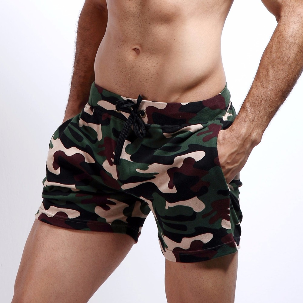 New Fashion Cotton Men\'s Jogger Short Leisure Workout Short With Pocket Casual Camouflage Elastic Waist Home Lounge Shorts PF73 (3)