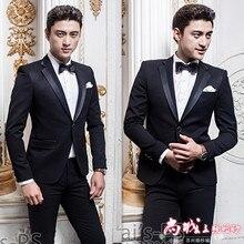 (Jacket +vest+pants)male costume Black men's suits Korean slim suit groom wedding dress stage clothing studio singer dancer show