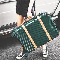 Лидер продаж! ретро abs + pc hardside чехол рамка алюминиевого сплава 24 дюймов багажа на универсальные диски, высокое качество TSA замок тележка поле