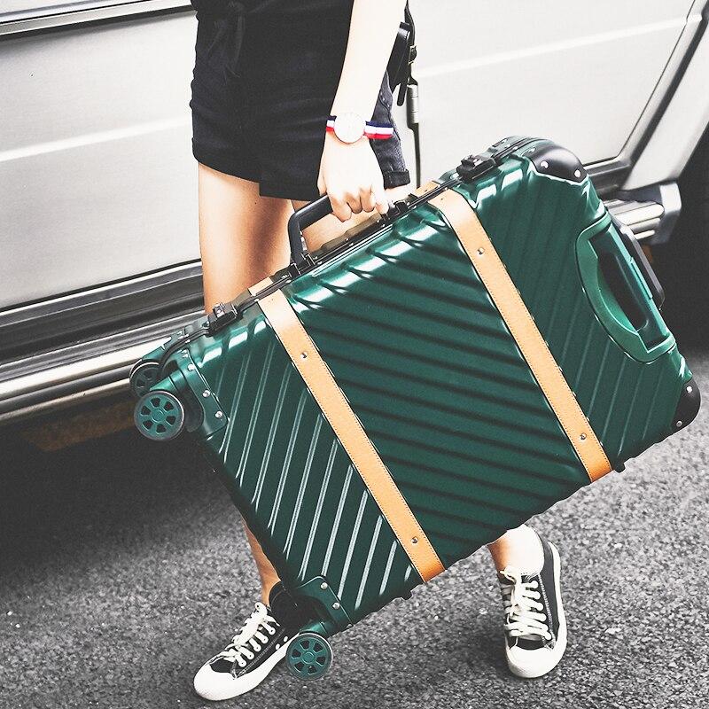 Hotsale!Retro abs+pc hardside case aluminum alloy frame 24 inch luggage on universal wheels,high quality TSA lock trolley box
