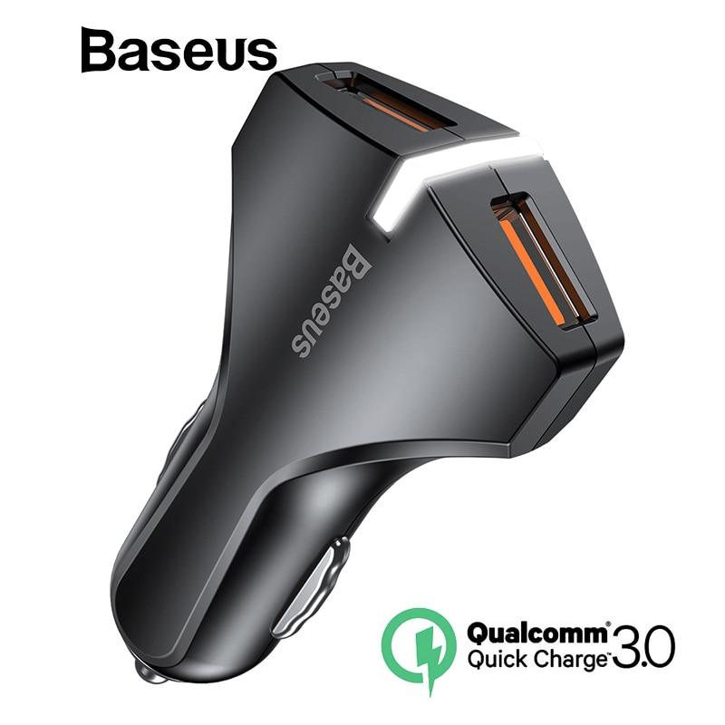 Baseus carga rápida QC 3,0 cargador de coche para iPhone Samsung iPad Tablet rápido del teléfono móvil cargador Dual USB del teléfono del coche cargador de Turbo