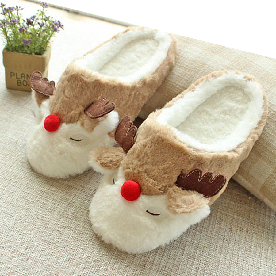 Women Indoor Reindeer Slippers Lovers Cotton Home Slippers Floor Plush Covered Shoes Male Pantoufle Cartoon Style autumn travel aviation hotel home shoes cotton padded folding slippers women men indoor floor slippers free shipping