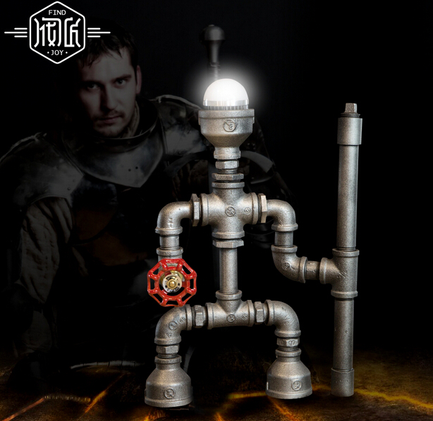 Knight Robot Iron Water Pipe Loft Industrail Desk Lamp Personality Creative Table Lamp For Home Room Bar Light Luminaria De Mesa vintage loft industrail iron water pipe desk lamp personality creative table lamp for home room bar light luminaria de mesa