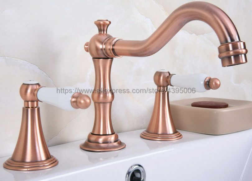 Antique Red Copper Widespread Bathroom Basin Faucet Dual Handle 3 Holes Basin Mixer Sink Taps Deck Mounted Brg072Antique Red Copper Widespread Bathroom Basin Faucet Dual Handle 3 Holes Basin Mixer Sink Taps Deck Mounted Brg072