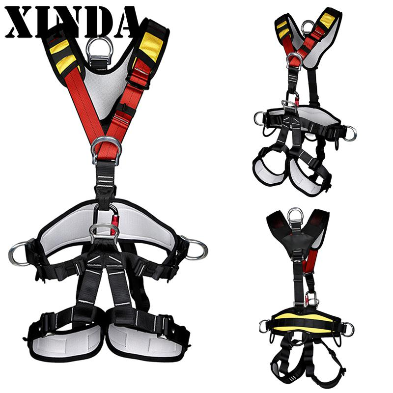 Outdoor Rock Climbing Rappelling Mountaineering Full Body Safety Harness Wearing Seat Belt Sitting Bust Protection Gear FY0478 magideal top quality rock climbing safety harness sitting belt rappelling carabiner rope gear set for outdoor hiking safety acce