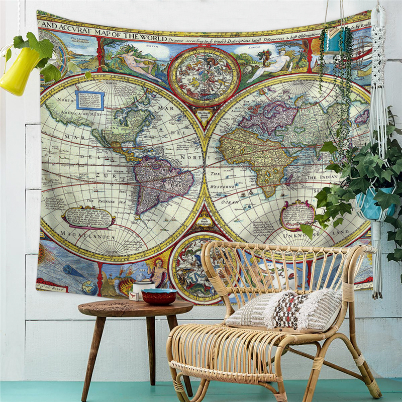 Watercolor Wall Hanging Tapestry World Map Scenery Wall Cloth Tapestries Boho Wall Carpet Tablecloth Rectangle Beach Towel Yoga in Tapestry from Home Garden