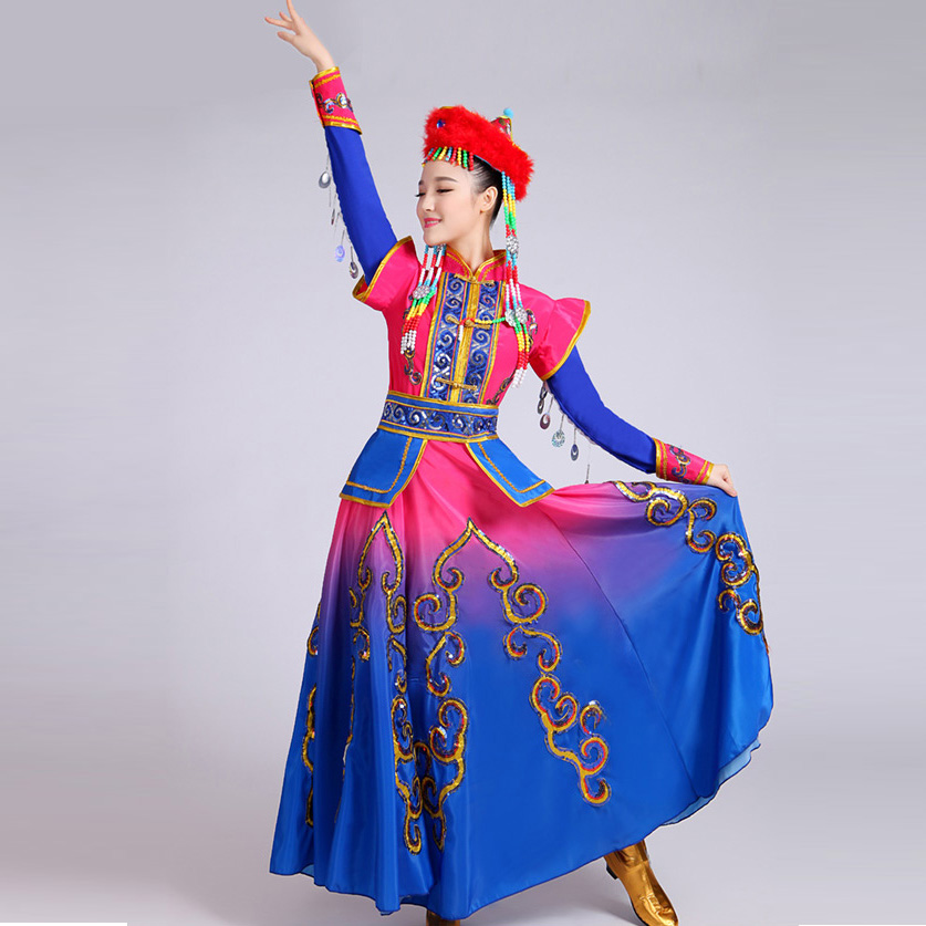 Women Mongolian Clothing Stage Performance Dance Skirt Gown Girl Mongolian Dance Costumes Child Minority Tibetan Dance Wear