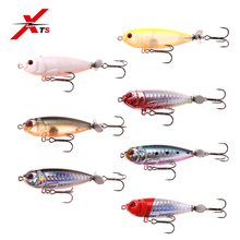 цена XTS Fishing Bait 8.8g 55mm Topwater Floating Hard Pencil Lures Plastic Spinner Tail 7 Colors Fishing Tackle Swimming Baits S5283 онлайн в 2017 году