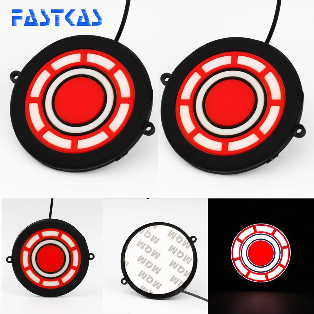 LED DRL Daytime Running Light 100% Waterproof Red White Color Day Light Fog Light 12v 9cm Turning Signal Car Running Light