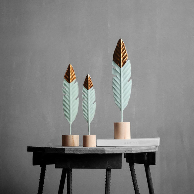Modern Feather Wooden Decorations Simple Miniature Figurines for Living Room Table Office Home Decoration Accessories.jpg 640x640 - new-arrivals, decor, accessories - Modern Iron Feather