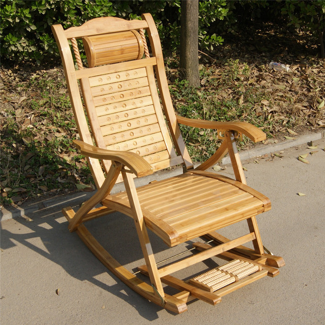 Bamboo chair rocking recliner chairs outdoor leisure Happy elderly ...