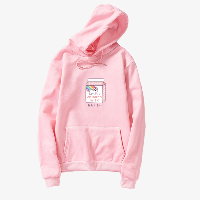 Kawaii Fleece Pink Pullover Loose Women Harajuku Casual Lovely Unicorn Cartoon Printed Hoodies Sweatshirts Female Korean Clothes