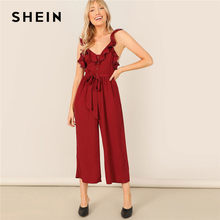 03d9978fafab SHEIN Burgundy Lady Sexy Deep V Neck Sleeveless Belted Jumpsuit Highstreet  Women Summer Ruffle Trim Wide Leg Jumpsuits