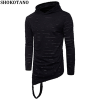 SHOKOTANO Ripped Hole Solid Color Men Hoodies Irregular Hem Long Sleeve Hooded Fashion Hip Hop Stylish Streetwear Tops Hooded