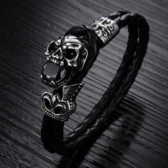 Genuine Leather Bracelet Titanium Stainless Steel Jewelry Cool Punk Rock Style Skull Men's Bracelets