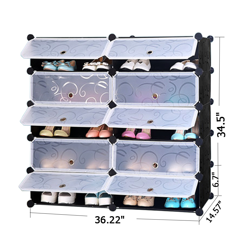 PRWMAN 5 Tier And 10 Cube Shoe Cabinets Toy Organizer Storage Stackable  Multi Shoe Rack Plastic Drawers Black With White Doors In Shoe Cabinets  From ...
