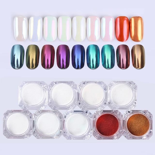1 BOX 1g Mirror Glitter Nail Chrome Pigment Dazzling DIY Salon Micro Holographic Powder Laser Nail Art Decorations Manicure