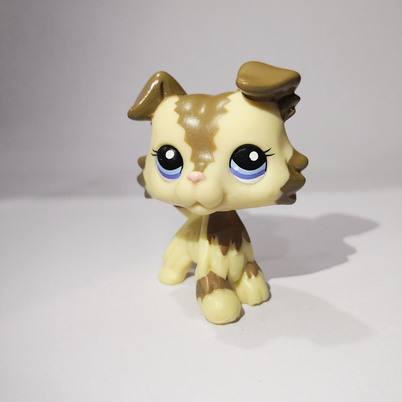 Pet Shop LPS Toys Beige Pet Brown Hair Mini Dog Lps Shop Action Figure Gifts for Kids