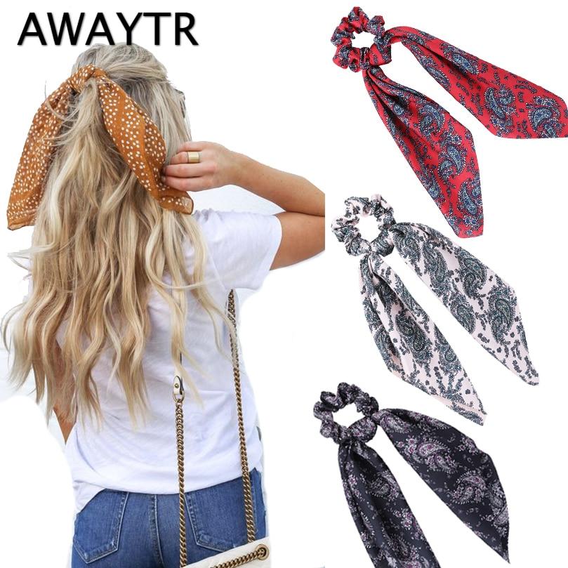 AWAYTR New Fashion Sweet Print Scrunchie Women Ribbon Elastic Hair Band Bow Scarf Hair Rubber Hair Ropes Girls Hair Accessories