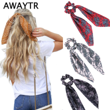 цены AWAYTR New Fashion Sweet Print Scrunchie Women Ribbon Elastic Hair Band Bow Scarf Hair Rubber Hair Ropes Girls Hair Accessories