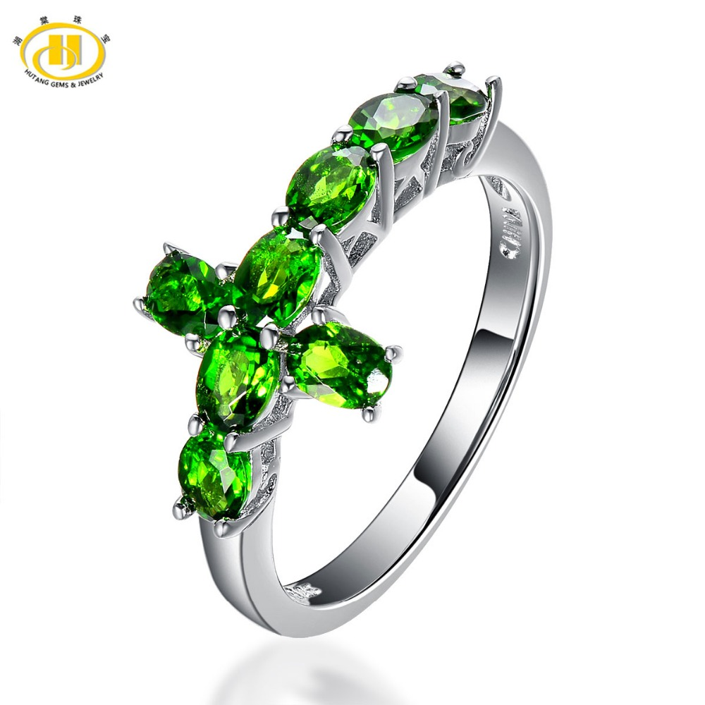 Hutang Natural Chrome Diopside Cross Ring Solid 925 Sterling Silver Russia Emerald Vivid Green Gemstone Fine Jewelry For Women exquisite gemstone embellished vivid alloy finger ring for women