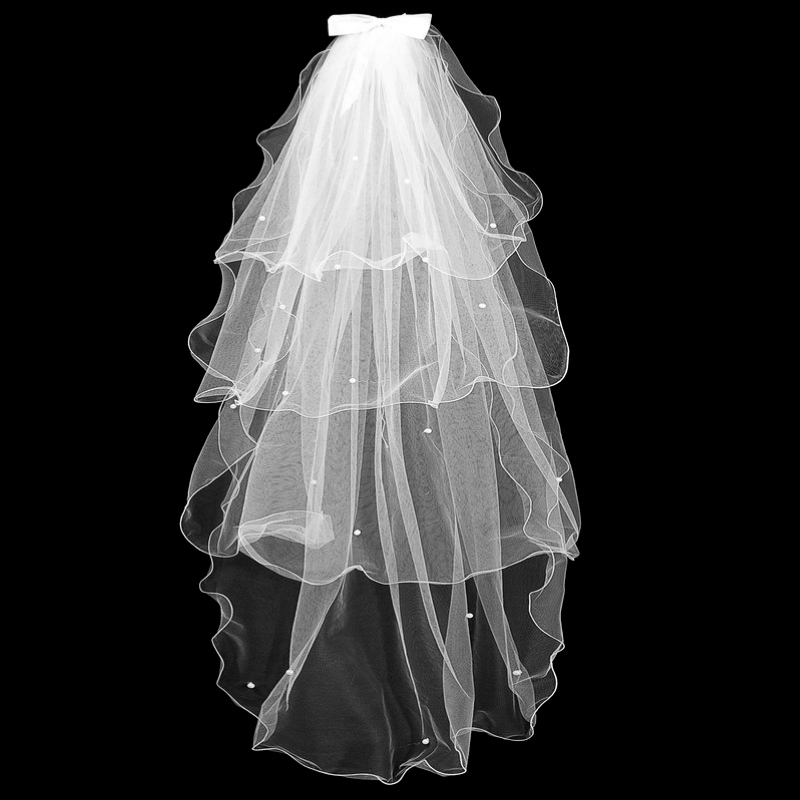 Simple Women four Layers Tulle Wedding Veils With Comb Bridal Veil for Bride for Mariage Wedding Accessories Ribbon Edge Pearl