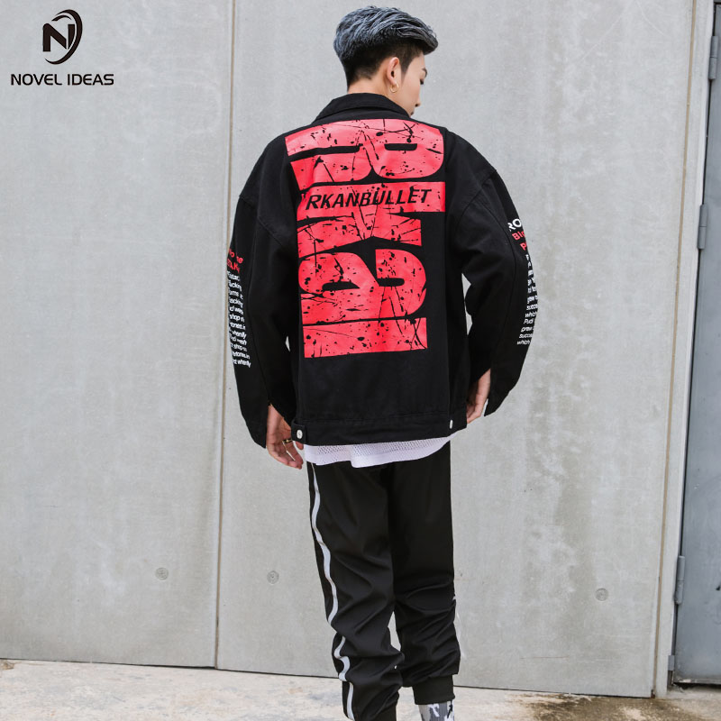 Denim Jacket Letter Print Coat Black Single Breasted Bomber Men Brand Hip Hop Punk Rock Men Basic Jeans Coat Outwear Streetwear