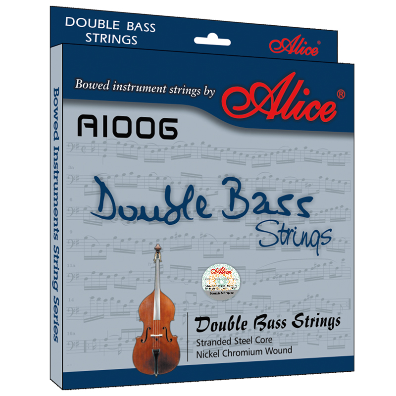 1 Set Original Alice Professional Double Bass Strings Stranded Steel Core Nickel Chromium Wound Nickel-Plated Ball-End A1006 rotosound rs66lc bass strings stainless steel