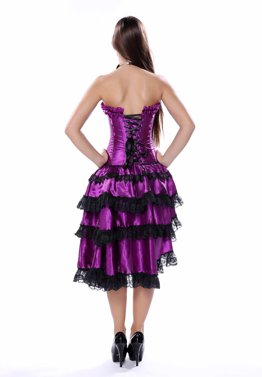 9e9ed3bc56f ... Gothic Burlesque Overbust Corset Sexy Purple Dancer Dress Lingerie  Showgirl Top with Layed Skirt Plus Size ...