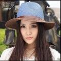 2016 Новый фьюжн Корейский летом цвет пряжки ремня Шляпа Козырек Шляпа с приморский пляж шляпа для женщин