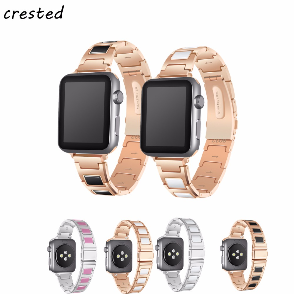цены CRESTED stainless steel watch band for apple watch 42mm/38mm for iwatch 3/2/1 ceramics replacement bracelet strap watchband