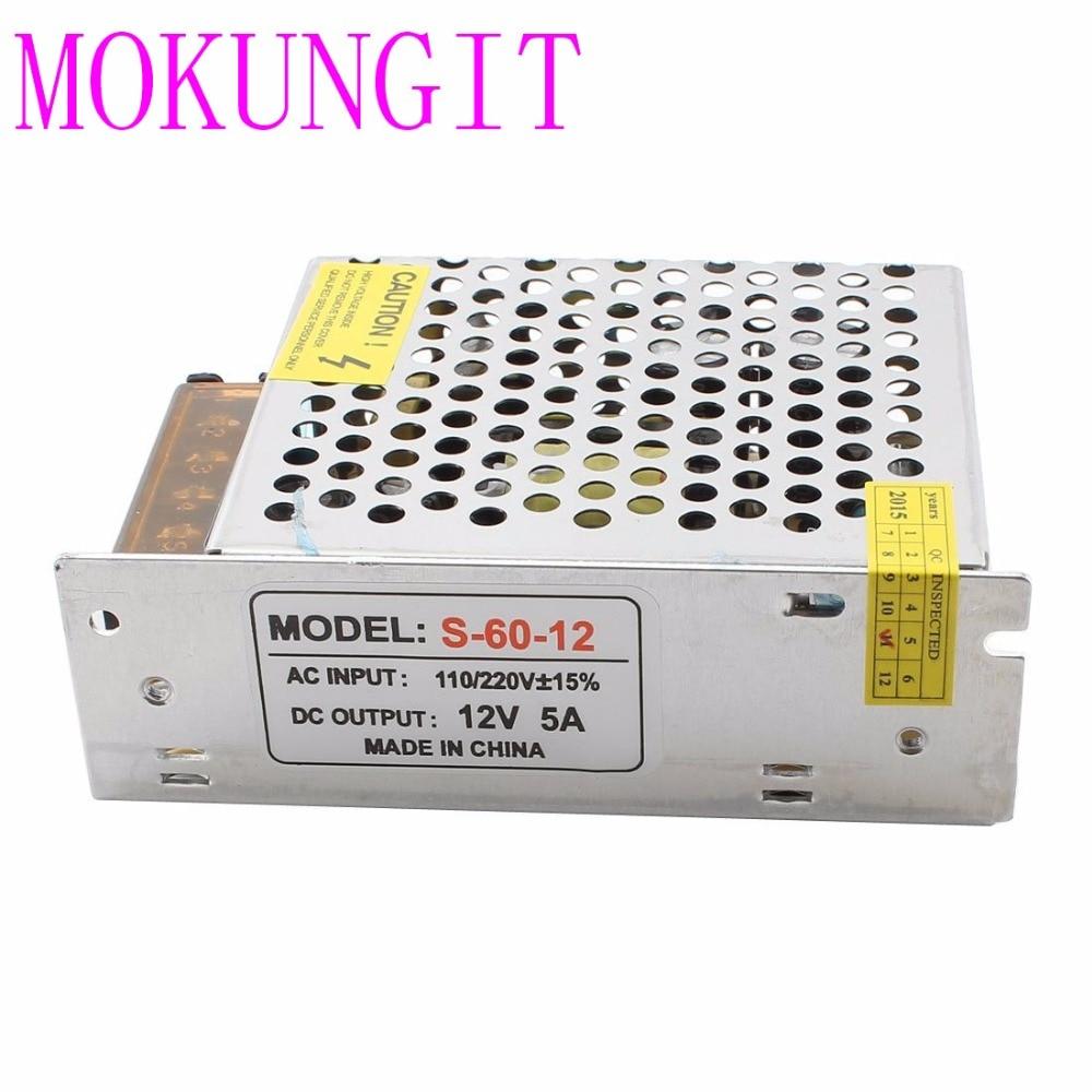 25pcs fast shipping AC110V-220V DC 12V 5A 60W Regulated Lighting Transformer Power Supply For <font><b>3825</b></font> 5050 3014 <font><b>LED</b></font> Strip Light