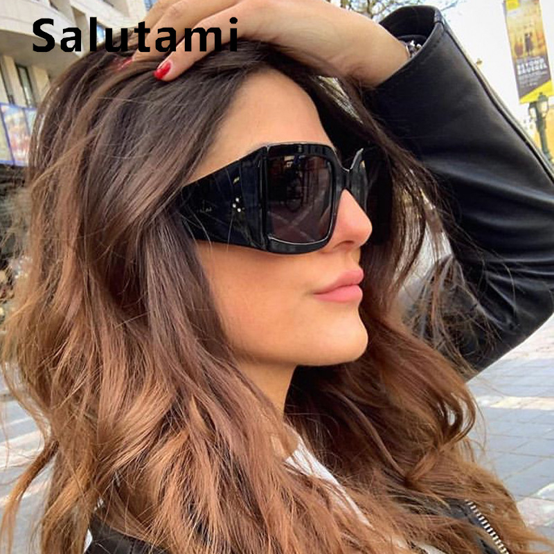 Three Rivet Wide Leg Square Sunglasses Women Luxury Brand Vintage Sun Glasses Ladies Black Oversize Eyewear Men Oculos Feminino