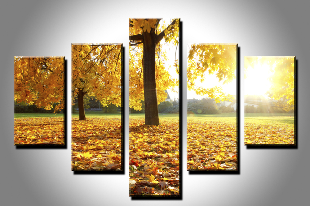 5 panels Wall Art Modern Still Life Tree with Yellow Leaves oil ...