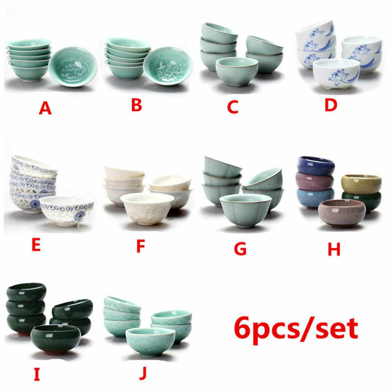 6 pcs/set Chinese Ceramic Tea Cup Ice Cracked Glaze Cup Kung Fu teaset Small Porcelain Tea Bowl Teacup Tea Accessories Drinkware