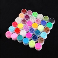 36 Pots Shiny Cover Pure Colors UV Gel Nail Art Tips Glitter Gel Manicure DIY
