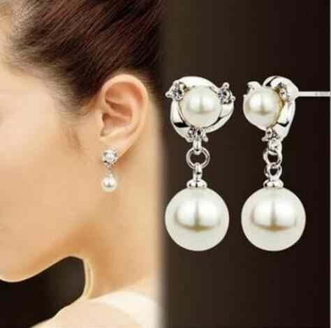 Joyería nupcial de la boda a la moda simple de aleación de cristal en forma de corazón arco triángulo imitación perla pendientes mujer encanto exquisito gi