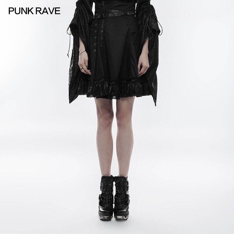 PUNK RAVE femmes noir Mini jupe taille haute japon belle jupes mode gothique Lolita jupe Club partie Caual jupes