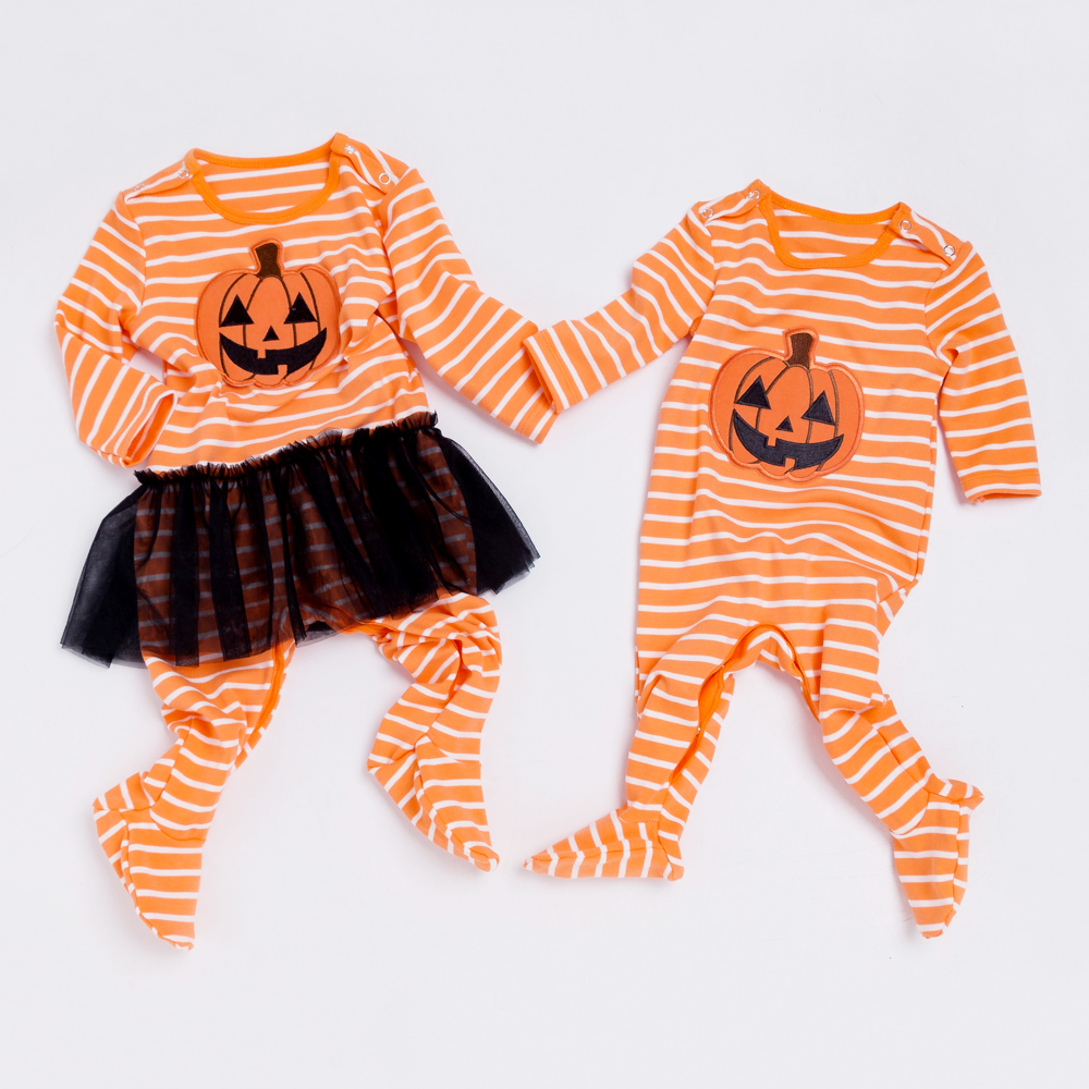 YK&Loving Halloween Pumpkin Baby Rompers Cotton Warm Newborn Twins Clothes Fall Long Sleeve Toddler Clothing for Boy Girl Baby cotton baby rompers set newborn clothes baby clothing boys girls cartoon jumpsuits long sleeve overalls coveralls autumn winter