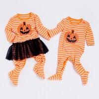 YK i Kochać Halloween Dyni Twins body Niemowlęce Bawełniane Ciepłe Noworodka Ubrania Spadek Długim Rękawem Odzież dla Chłopca Dziewczyna Maluch dziecko