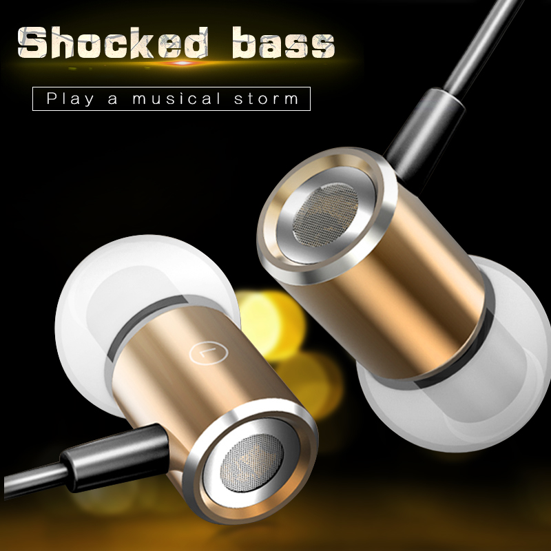 Magnetic Earphone Brand In-Ear Wired Earphones Metal Heavy Bass Music Hifi Headset Mic Earbud for iPhone Samsung Xiaomi MP3 MP4 kz ed9 3 5mm metal earphones in ear bass headphones with mic