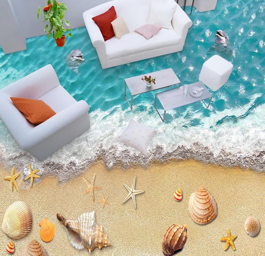 Beach floor murals in wall stickers Dolphins Beach House and 3D stereoscopic PVC waterproof floor beach house