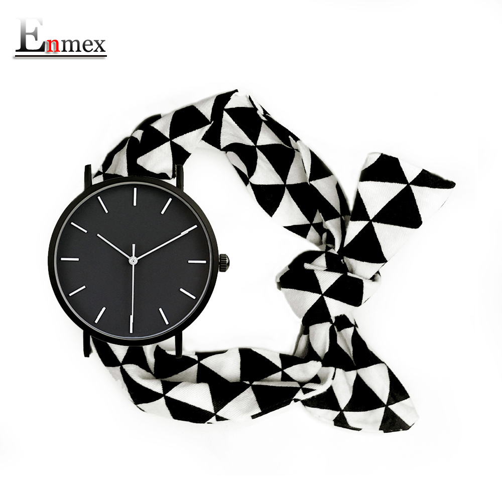 Lady gift simple stylish watch Enmex strappy cotton band cutting-edge fashion Black-and-white grid pattern quartz wristwatch 2017 enmex cool style men wristwatch brief vogue simple stylish black and white face stainless steel quartz clock fashion watch