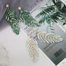 JUJIA primavera y verano verde blanco resina HOJA DE Monstera gota pendiente largo colgante mujeres declaración Tropical planta joyería 2019 nuevo