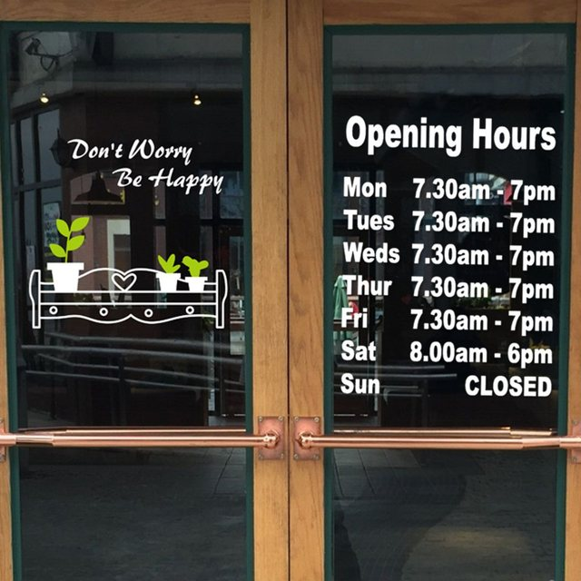 Opening hours sticker business trading time shop external window sign self adhensive vinyl decal wall